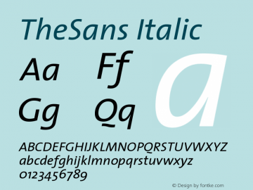TheSans Italic Version 1.0 Font Sample