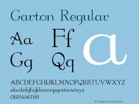 Garton Regular Altsys Fontographer 3.5  4/17/92 Font Sample