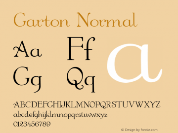 Garton Normal 1.0 Thu Sep 30 16:15:31 1993 Font Sample