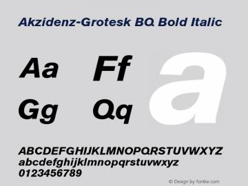 Akzidenz-Grotesk BQ Bold Italic 001.001 Font Sample