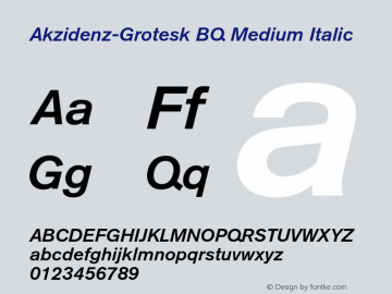 Akzidenz-Grotesk BQ Medium Italic 001.001 Font Sample