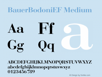 BauerBodoniEF Medium 001.000 Font Sample