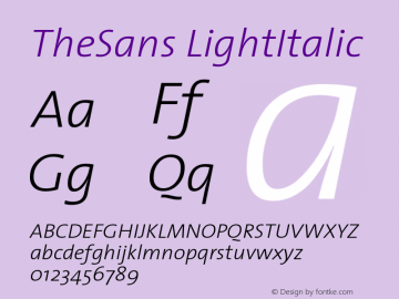 TheSans LightItalic Version 1.0 Font Sample
