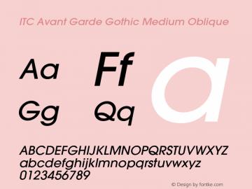 ITC Avant Garde Gothic Medium Oblique 001.000 Font Sample