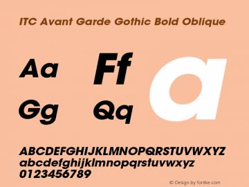 ITC Avant Garde Gothic Bold Oblique 001.000 Font Sample