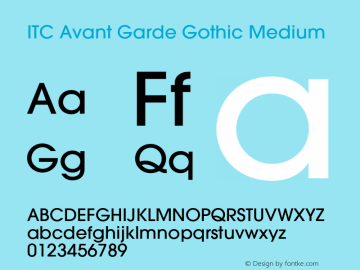 ITC Avant Garde Gothic Medium 001.000 Font Sample