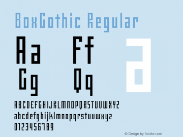 BoxGothic Regular Version 1.00图片样张