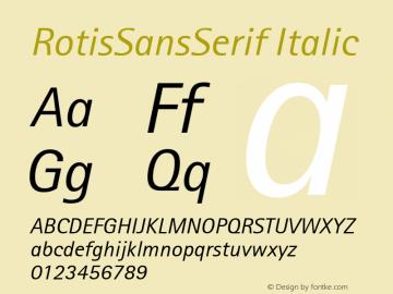RotisSansSerif Italic Version 1.0 Font Sample