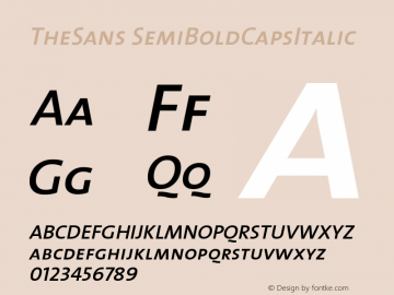 TheSans SemiBoldCapsItalic Version 1.0 Font Sample
