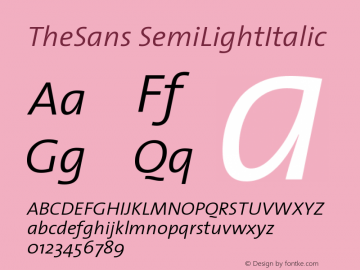 TheSans SemiLightItalic Version 1.0 Font Sample