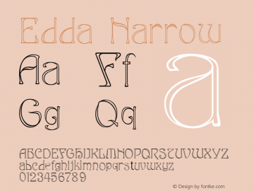 Edda Narrow Macromedia Fontographer 4.1.4 9/5/98 Font Sample
