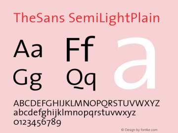 TheSans SemiLightPlain Version 1.0 Font Sample