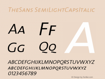 TheSans SemiLightCapsItalic Version 1.0 Font Sample