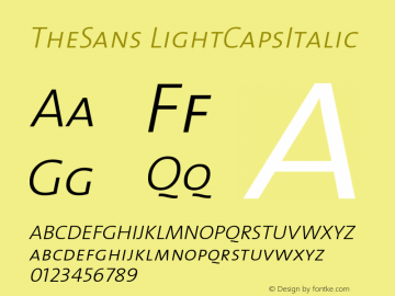 TheSans LightCapsItalic Version 1.0 Font Sample