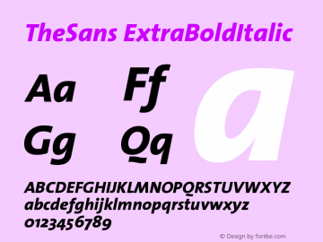 TheSans ExtraBoldItalic Version 1.0 Font Sample