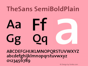 TheSans SemiBoldPlain Version 1.0 Font Sample