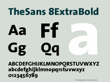 TheSans 8ExtraBold Version 1.0 Font Sample