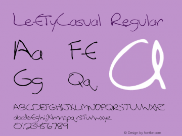 LeftyCasual Regular Converted from F:\TTF\LEFTYCAS.TF1 by ALLTYPE Font Sample