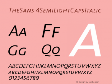 TheSans 4SemiLightCapsItalic Version 1.0 Font Sample