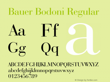 Bauer Bodoni Regular 2.0-1.0 Font Sample