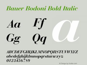 Bauer Bodoni Bold Italic 2.0-1.0 Font Sample