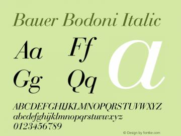 Bauer Bodoni Italic 2.0-1.0 Font Sample