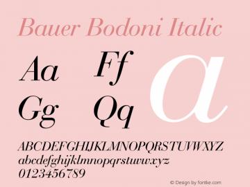Bauer Bodoni Italic 003.001 Font Sample