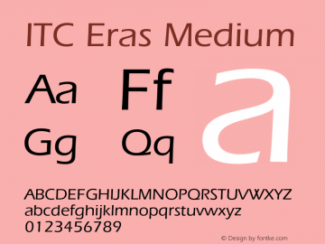 ITC Eras Medium 001.001 Font Sample