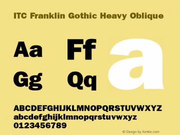 ITC Franklin Gothic Heavy Oblique Version 001.002 Font Sample