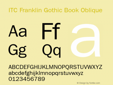 ITC Franklin Gothic Book Oblique Version 001.003 Font Sample