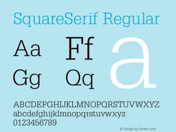 SquareSerif Regular Converted from C:\TEMP\SQUARESE.TF1 by ALLTYPE Font Sample