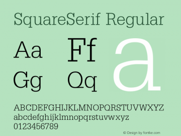 SquareSerif Regular Converted from D:\FONTTEMP\SQ______.TF1 by ALLTYPE Font Sample