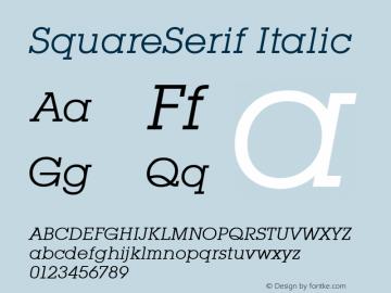 SquareSerif Italic Altsys Fontographer 3.5  6/28/93 Font Sample