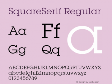 SquareSerif Regular Altsys Fontographer 3.5  6/28/93 Font Sample