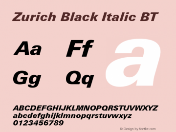 Zurich Black Italic BT mfgpctt-v1.52 Tuesday, January 12, 1993 4:21:30 pm (EST)图片样张