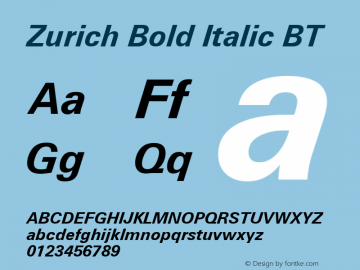 Zurich Bold Italic BT mfgpctt-v1.52 Monday, January 25, 1993 12:07:59 pm (EST)图片样张