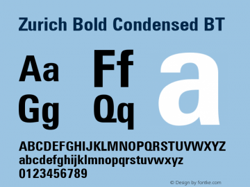Zurich Bold Condensed BT mfgpctt-v1.52 Thursday, January 14, 1993 10:21:50 am (EST)图片样张