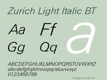 Zurich Light Italic BT mfgpctt-v1.52 Tuesday, January 12, 1993 4:14:16 pm (EST)图片样张