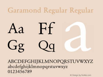Garamond Regular Regular Converted from E:\WINDOWS\SYSTEM\GARAMOND.TF1 by ALLTYPE Font Sample