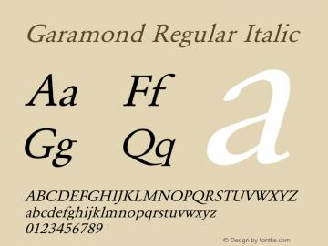 Garamond Regular Italic Converted from E:\WINDOWS\SYSTEM\GARAMOND.TF1 by ALLTYPE Font Sample