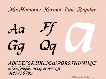 MacHumaine-Normal-Italic Regular Converted from C:\EMSTT\MACHUITA.TF1 by ALLTYPE Font Sample