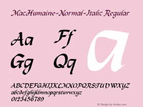MacHumaine-Normal-Italic Regular Converted from f:\x\MCHUMANI.TF1 by ALLTYPE Font Sample