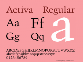 Activa Regular Converted from C:\TEMP\ACTIVA.TF1 by ALLTYPE Font Sample