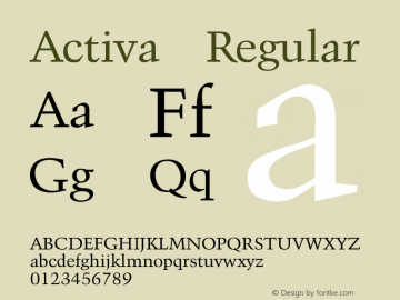Activa Regular Converted from D:\FONTTEMP\ACTIVA.TF1 by ALLTYPE Font Sample