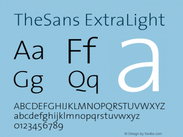 TheSans ExtraLight 1.0 Font Sample