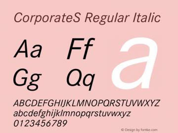 CorporateS Regular Italic 001.004 Font Sample