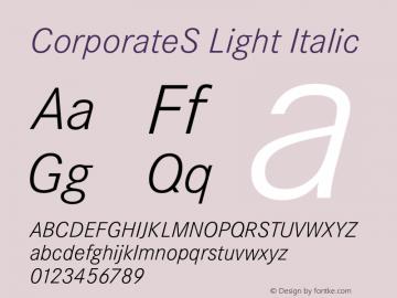 CorporateS Light Italic 001.004 Font Sample
