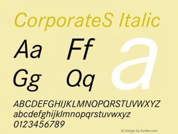 CorporateS Italic 001.004 Font Sample