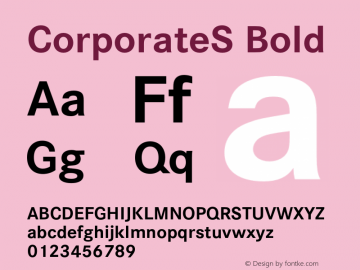 CorporateS Bold 001.004 Font Sample