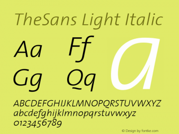 TheSans Light Italic 1.0 Font Sample